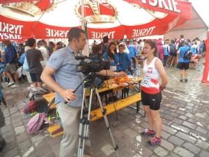 Julia udziela wywiadu po swoim biegu sprinterskim (8 miejsce)